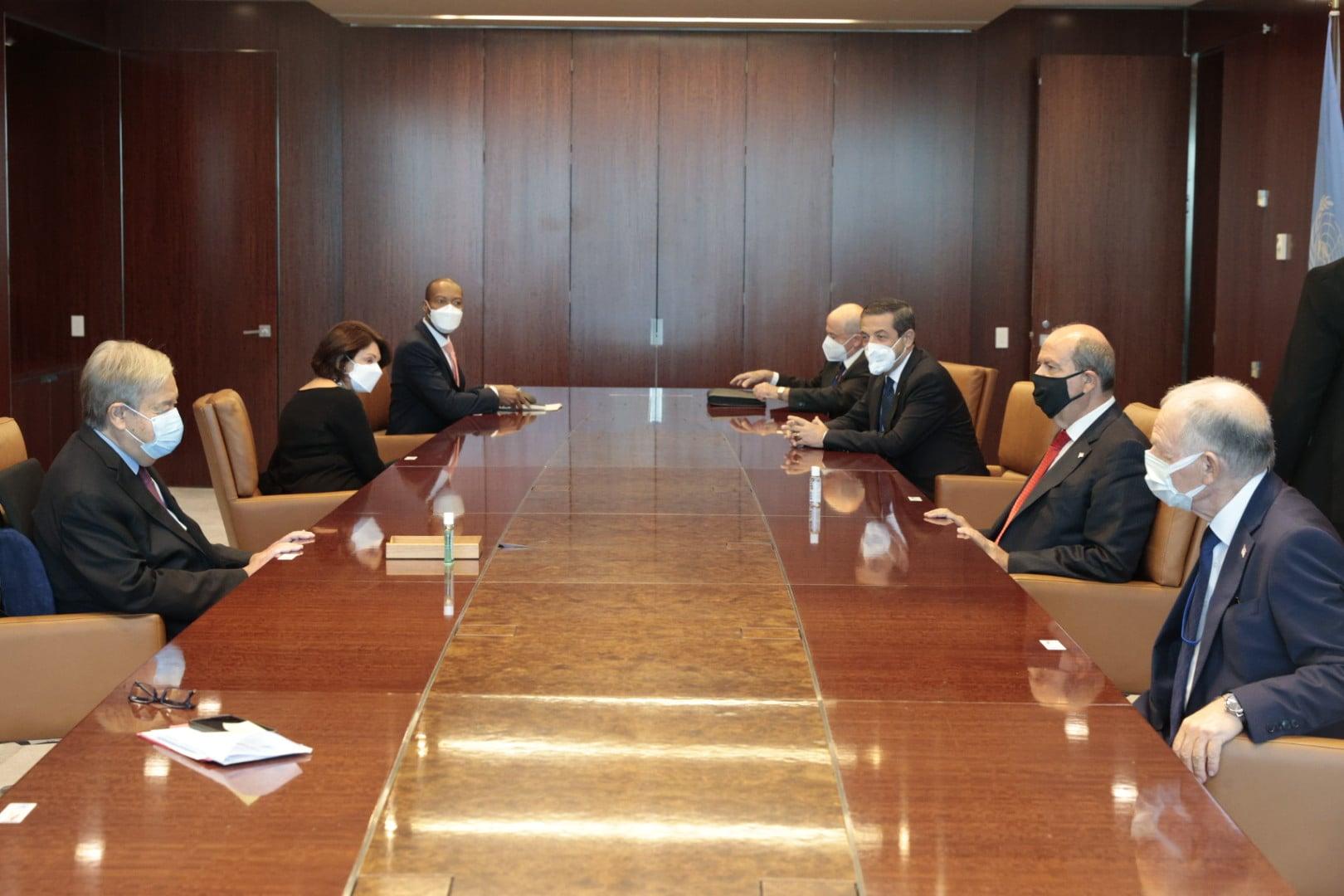 """Cumhurbaşkanı Tatar, BM Genel Sekreteri Guterres ile görüşmesini yorumladı: """"İki devletli çözüm önerimizi yeniden vurguladım"""""""